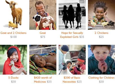 World Vision inspiring gifts